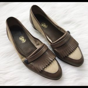 SALE Vintage Kiltie Taupe Leather Logo Loafer